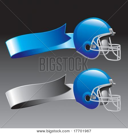 football helmet on blue and silver ribbons