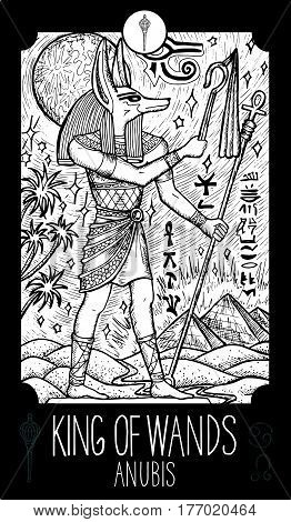 King of wands. Anubis. Minor Arcana Tarot card. Fantasy line art illustration. Engraved vector drawing. See all collection in my portfolio set