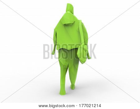 3d illustration of low poly green man. white background isolated. icon for game web.