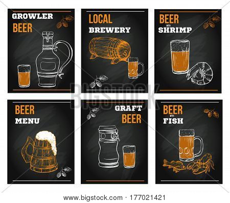 Beer menu elements in sketch hand drawn style on chalkboard including bottles, glasses, growle, pint, hop. Vector illustration