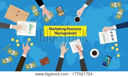 discussion about marketing resource management on a meeting table illustration with paperworks, money and document folder on top of table vector