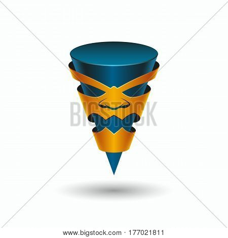 Aggressive character in the mask, logo template. Angry taper 3D pointer