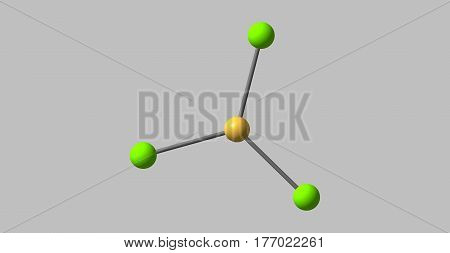 Boron trichloride is the inorganic compound with the formula BCl3. This colorless gas is a valuable reagent in organic synthesis. It is highly reactive toward water. 3d illustration