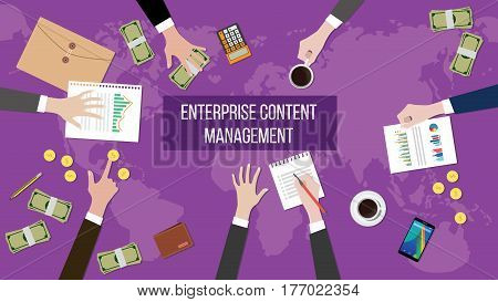 discussion about enterprise content management on a meeting table illustration with paperworks, money and document folder on top of table vector