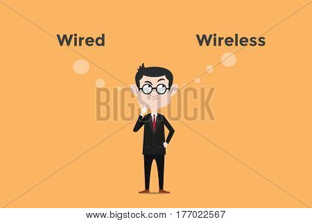 confuse to choose whether using wired vs wireless for internet connection in the office illustration with white bubble text vector