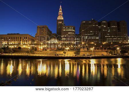 Cleveland skyline at night. Cleveland Ohio USA.