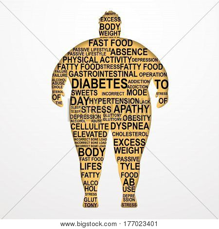 Obesity Vector illustration Causes and consequences of obesity Silhouette of a fat man with text composition on white background Poster template with text composition Paper art