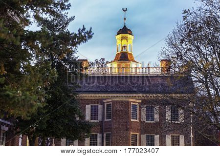 The Old State House in downtown of Dover Delaware.