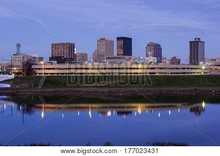 Evening in Dayton across Great Miami River. Dayton Ohio USA.