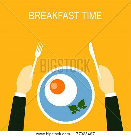 Fried egg Vector illustration Flat design Man in a suit eatting fried eggs for breakfast