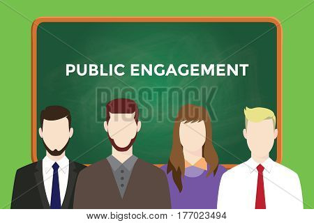 public engagement text on green chalkboard illustration with four people man and women in front of the board vector