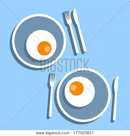 Fried egg Vector illustration Two servings of fried eggs in plates with cutlery on a blue background Flat design