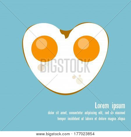 Fried egg Vector illustration Flat design Fried eggs with two yolks in the form of a heart on a light blue background with a place for writing