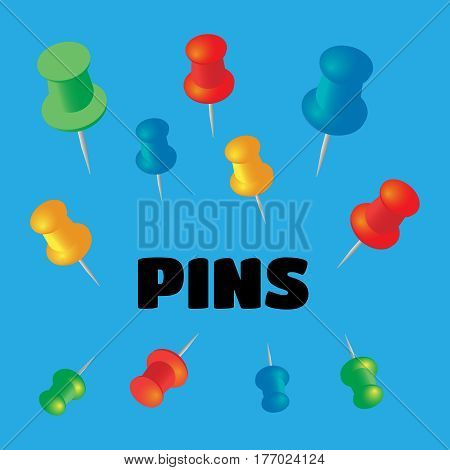 Push pins set. Stationery object plastic element tack and needle