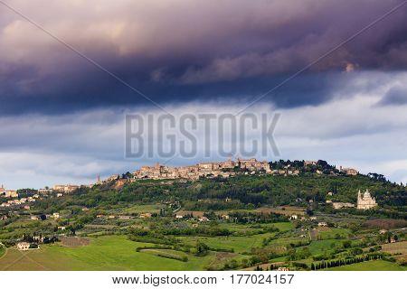 Montepulciano panorama at sunset. Tuscany landscape. Tuscany Italy.