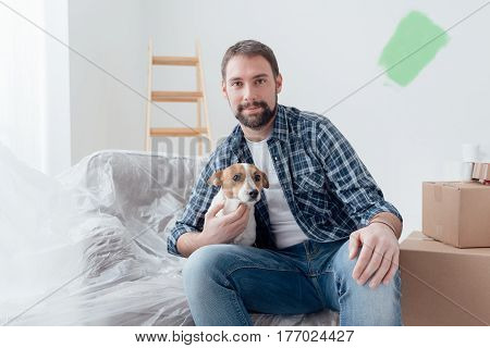 Dog Owner In His New House