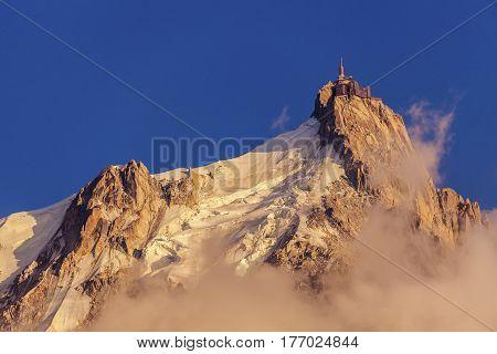 Alps peaks in Chamonix area - Aiguille du Midi. Chamonix Auvergne-Rhone-Alpes France.