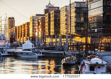 Architecture of Hamburg at sunset. Hamburg Germany.