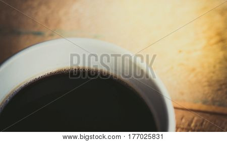 Coffee cup  on wooden background. Top view.