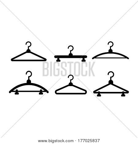 Hangers vector black icons. Cloth hanger object hanger set hook hang