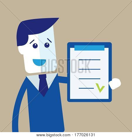 Happy businessman with checklist. Successful business concept.
