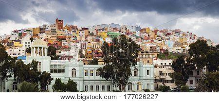 Colorful architecture of Barrio San Juan in Las Palmas. Las Palmas Gran Canaria Spain.
