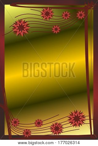 Golden vertical background with Burgundy stars. Beautiful festive background with lines and flowers for banners cards etc.