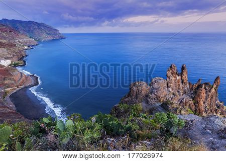 Tenerife panorama at dusk. Tenerife Canary Islands Spain.