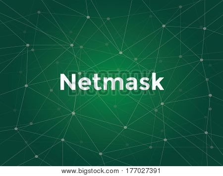 illustration white text on green background for netmask on networking vector