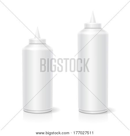 Blank plastic white mayonnaise mustard ketchup bottle for branding isolated on background. 3D
