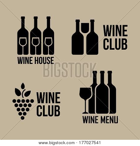 Wine shop logos set. Colorful icons with vine wine bottles