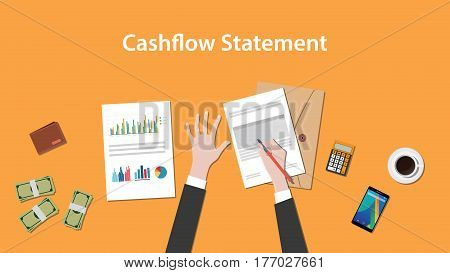 write and count cashflow statement on a paperworks with calculator, money and coffee on top of table vector