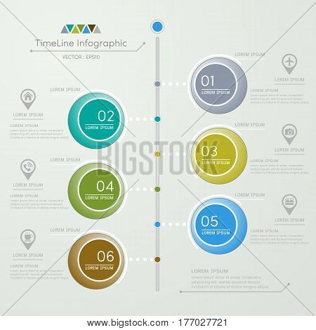 Timeline infographics design template with icons process diagram vector eps10 illustration