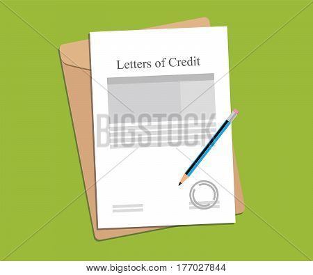 illustration for letters of credit agreement stamped and completed with folder document on top of table vector