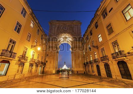 Rua Augusta Arch on Plaza of Commerce in Lisbon. Lisbon Portugal.