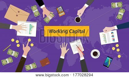 working capital concept discussion illustration with paperworks, money and folder document on top of table vector