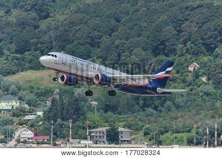 Aerobus A320 taking off Adler Russia August 21 2011