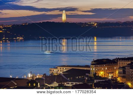 Cristo Rei Statue and Tagus River in Lisbon. Lisbon Portugal.