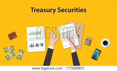 illustration of counting treasury securities with paperworks, calculator and money on top of table and yellow background vector