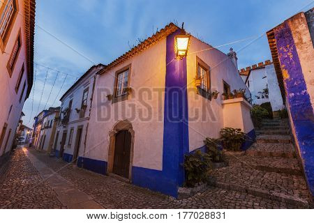 Old Town in Obidos Portugal. Obidos Centre Portugal.