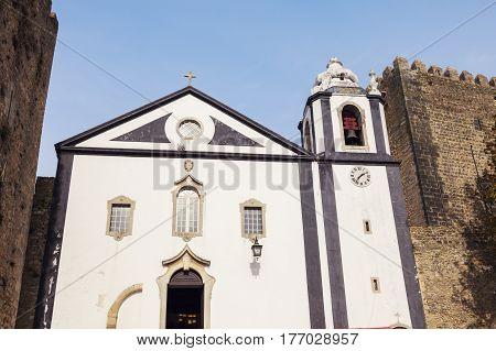 Church in the center of Obidos Portugal. Obidos Centre Portugal.
