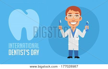International Dentists Day Dentist Holding Toothpaste And Toothbrush