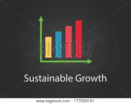 Sustainable Growth chart illustration with colourful bar, white text and black background vector