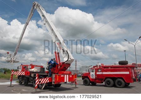 Demonstration of fire equipment near the shopping center Rostov-on-Don Russia May 7 2016