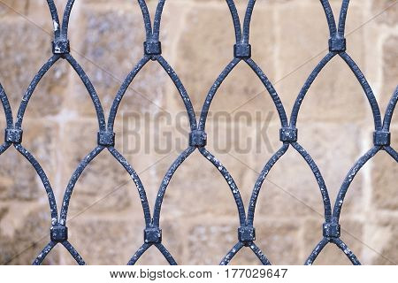 Front View of Ancient Metallic Rusty Grate