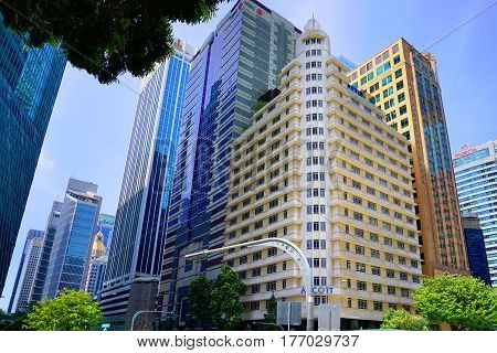 Singapore, Singapore - February 11, 2017: Singapore Downtown district and skyscrapers on sunny day in Singapore.