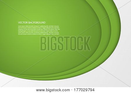 Vector modern simple oval green and white background with paper effect. 3D ovals with soft shadows. Sample text.
