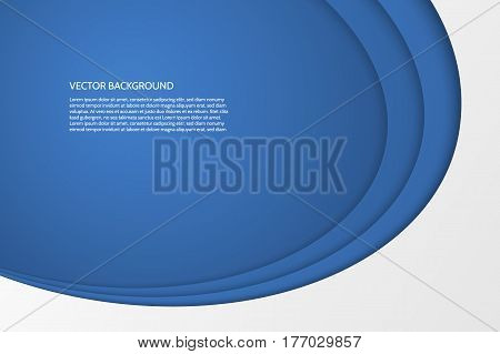 Vector modern simple oval blue and white background with paper effect. 3D ovals with soft shadows. Sample text.