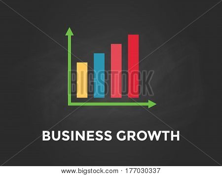 Business growth chart illustration with colourful bar, white text and black background vector