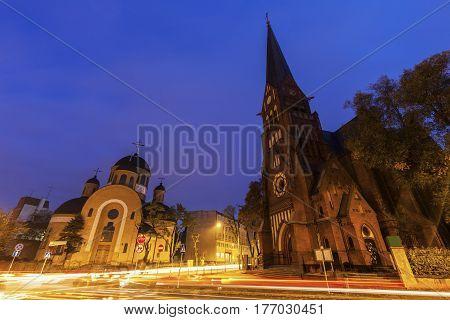 Orthodox and Evangelical Churches in Czestochowa. Czestochowa Silesia Poland.